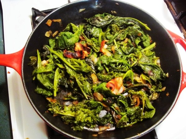 Yummy greens in bacon grease